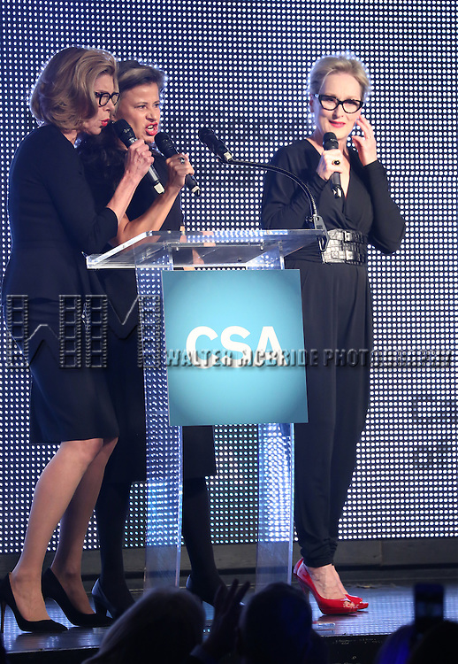 Christine Baranski, Tracey Ullman and Meryl Streep present Rob Marshall with the New York Apple Award during the 30th Annual Artios Awards Presentation at 42 WEST on January 22, 2015 in New York City.