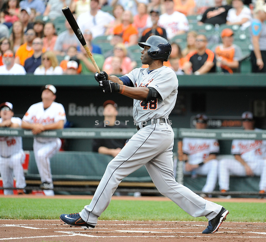 Detroit Tigers Torii Hunter (48) during a game against the Baltimore Orioles on June 2, 2013 at Oriole Park in Baltimore, MD. The Orioles beat the Tigers 4-2.