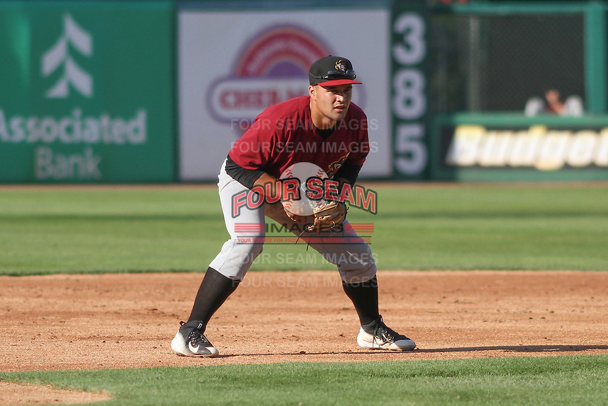 Quad Cities River Bandits infielder Nick Tanielu (30) during a Midwest League game against the Wisconsin Timber Rattlers on July 17th, 2015 at Fox Cities Stadium in Appleton, Wisconsin. Quad Cities defeated Wisconsin 4-2. (Brad Krause/Four Seam Images)