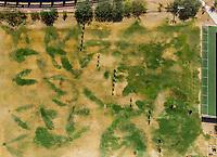 Vista aerea de Complejo deportivo de la Comisión Estatal de Deporte, CODESON en Hermosillo, Sonora....<br /> <br /> Campo De Tiro Con Arco. Sequía. Pasto. Pasto seco. Césped Verde. Contraste<br /> <br /> <br /> Photo: (NortePhoto / LuisGutierrez)<br /> <br /> ...<br /> keywords: