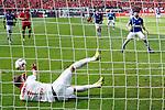 11.05.2019, BayArena, Leverkusen, GER, 1. FBL, Bayer 04 Leverkusen vs. FC Schalke 04 ,<br />  <br /> DFL regulations prohibit any use of photographs as image sequences and/or quasi-video<br /> <br /> im Bild / picture shows: <br /> 11 Meter fuer Schalke Daniel Caligiuri (FC Schalke #18), schiesst und Lukas Hradecky Torwart (Leverkusen #1), haelt <br /> <br /> Foto &copy; nordphoto / Meuter