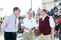 Athletic Director John Cohen, Coach Vic Schaefer, and President Mark E. Keenum sharing stories at the Maroon and White spring football game.<br />  (photo by Beth Wynn / &copy; Mississippi State University)