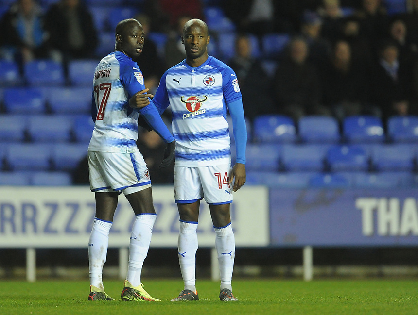Reading's Modou Barrow and Sone Aluko form the wall<br /> <br /> Photographer Kevin Barnes/CameraSport<br /> <br /> The EFL Sky Bet Championship - Reading v Bolton Wanderers - Tuesday 6th March 2018 - Madejski Stadium - Reading<br /> <br /> World Copyright &copy; 2018 CameraSport. All rights reserved. 43 Linden Ave. Countesthorpe. Leicester. England. LE8 5PG - Tel: +44 (0) 116 277 4147 - admin@camerasport.com - www.camerasport.com