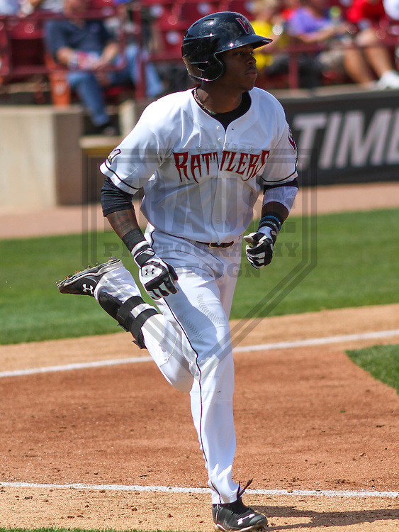 APPLETON - May 2015: Wisconsin Timber Rattlers outfielder Monte Harrison (3) during a game against the Quad Cities River Bandits on May 2nd, 2015 at Fox Cities Stadium in Appleton, Wisconsin.  Quad Cities defeated Wisconsin 5-2.  (Brad Krause/Four Seam Images)