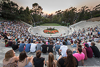 President Jonathan Veitch, Acting Dean of Students Erica O'Neal Howard and ASOC President Paul Charbonneau welcome incoming Occidental College students (the class of 2020) and their families during the Orientation welcome at the Remsen Bird Hillside Theater (the Greek Bowl) on Aug. 25, 2016.<br /> (Photo by Marc Campos, Occidental College Photographer)