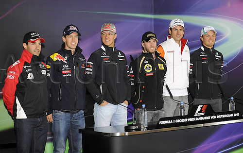 21 07 2011 Timo Glock Sebastian Vettel Michael Schumacher Nick Heidfeld Adrian Sutil Nico Rosberg ger Formula 1 Nuerburgring GP Germany press conference