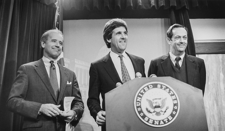 Sen. Joe Biden, D-Del., Sen. John Kerry, D-Mass., and Sen. Bill Bradley, D-N.J., at a press conference on public Funding for general election campaigns, on April 9, 1990. (Photo by Laura Patterson/CQ Roll Call via Getty Images)