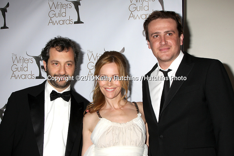 Judd Apatow, Leslie Mann, Jason Segel.arriving at 2010 Writers Guild of America Awards.Century Plaza Hotel.Century City, CA.February 20, 2010.©2010 Kathy Hutchins / Hutchins Photo....