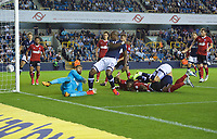 Tom Elliott of Millwall scores his side's 3rd goal to make it 3-3 during the Sky Bet Championship match between Millwall and Ipswich Town at The Den, London, England on 15 August 2017. Photo by Alan  Stanford / PRiME Media Images.