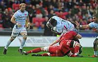 Racing 92 Cedate Gomes Sa takes on Scarlets' Jake Ball and Will Boyde<br /> <br /> Photographer Ian Cook/CameraSport<br /> <br /> European Rugby Champions Cup - Scarlets v Racing 92 - Saturday 13th October 2018 - Parc y Scarlets - Llanelli<br /> <br /> World Copyright &copy; 2018 CameraSport. All rights reserved. 43 Linden Ave. Countesthorpe. Leicester. England. LE8 5PG - Tel: +44 (0) 116 277 4147 - admin@camerasport.com - www.camerasport.com
