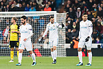 Borja Mayoral of Real Madrid (C) celebrating his score during the Europe Champions League 2017-18 match between Real Madrid and Borussia Dortmund at Santiago Bernabeu Stadium on 06 December 2017 in Madrid Spain. Photo by Diego Gonzalez / Power Sport Images