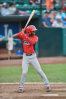 D'Shawn Knowles (4) of the Orem Owlz bats against the Ogden Raptors at Lindquist Field on August 3, 2018 in Ogden, Utah. The Raptors defeated the Owlz 9-4. (Stephen Smith/Four Seam Images)