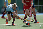 Mannheim, Germany, April 26: During the 1. Bundesliga Damen match between Mannheimer HC (red) and Uhlenhorster HC (light blue) on April 26, 2015 at Mannheimer HC in Mannheim, Germany. Final score 1-2 (0-2). (Photo by Dirk Markgraf / www.265-images.com) *** Local caption *** Roda Mueller-Wieland #14 of Uhlenhorster HC, Greta Lyer #10 of Mannheimer HC