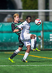 3 October 2015: University of Vermont Catamount Forward Bernard Yeboah, a Junior from Worcester, MA, battles Binghamton University Bearcat Midfielder Mike Kubik, a Junior from Wallington, NJ, during game action at Virtue Field in Burlington, Vermont. The Catamounts were unable to complete a late game rally, falling to the Bearcats 2-1 in America East conference play. Mandatory Credit: Ed Wolfstein Photo *** RAW (NEF) Image File Available ***