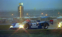 The #83 Nissan R90CK of Geoff Brabham, Chip Robinson, Derek Daly and Bob Earl races to a second place finish in the 24 Hours of Daytona, Daytona INternational Speedway, Daytona Beach, FL, February 3, 1991.  (Photo by Brian Cleary/www.bcpix.com)