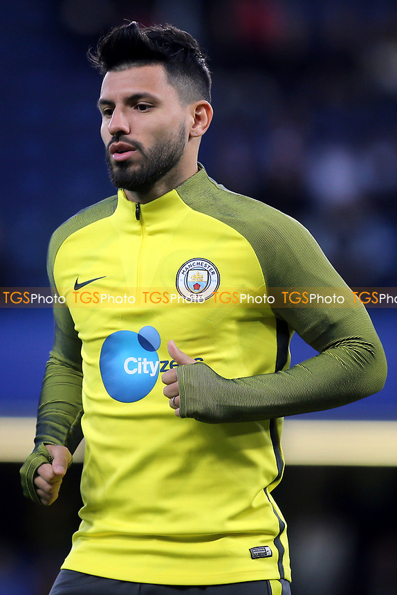 Sergio Aguero of Manchester City in the pre-match warm up during Chelsea vs Manchester City, Premier League Football at Stamford Bridge on 5th April 2017