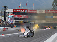Feb 10, 2019; Pomona, CA, USA; NHRA top fuel driver Austin Prock defeats teammate Brittany Force (not pictured) for the first round win of his NHRA career during the Winternationals at Auto Club Raceway at Pomona. Mandatory Credit: Mark J. Rebilas-USA TODAY Sports