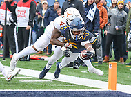 Morgantown, WV - November 18, 2017: West Virginia Mountaineers running back Justin Crawford (25) steps out of bounds before he could score during game between Texas and WVU at  Mountaineer Field at Milan Puskar Stadium in Morgantown, WV.  (Photo by Elliott Brown/Media Images International)