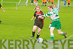 Tralee Dynamos Paula O'Regan and Killarney Celtic's Jeniffer Murphy in action at Cahermoneen, Tralee on Sunday.