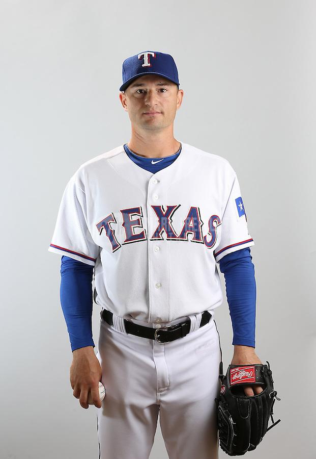 Feb. 20, 2013; Surprise, AZ, USA: Texas Rangers pitcher Jason Frasor poses for a portrait during photo day at Surprise Stadium. Mandatory Credit: Mark J. Rebilas-