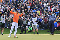 Rickie Fowler (USA) lines up the putt for the win on 18th during the final round of the Waste Management Phoenix Open, TPC Scottsdale, Scottsdale, Arisona, USA. 03/02/2019.<br /> Picture Fran Caffrey / Golffile.ie<br /> <br /> All photo usage must carry mandatory copyright credit (&copy; Golffile | Fran Caffrey)