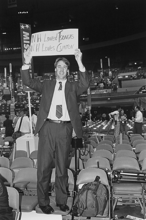 Rep. Richard Swett, D-N.H., still standing on chair after convention on July 20, 1992. (Photo by Laura Patterson/CQ Roll Call)