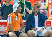 Moscow, Russia, 15 th July, 2016, Tennis,  Davis Cup Russia-Netherlands, Second rubber: The Dutch bench with capitain Jan Siemerink and Thiemo de Bakker (NED)<br /> Photo: Henk Koster/tennisimages.com