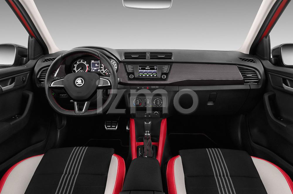 Stock photo of straight dashboard view of 2016 Skoda Fabia Monte-Carlo 5 Door Hatchback Dashboard