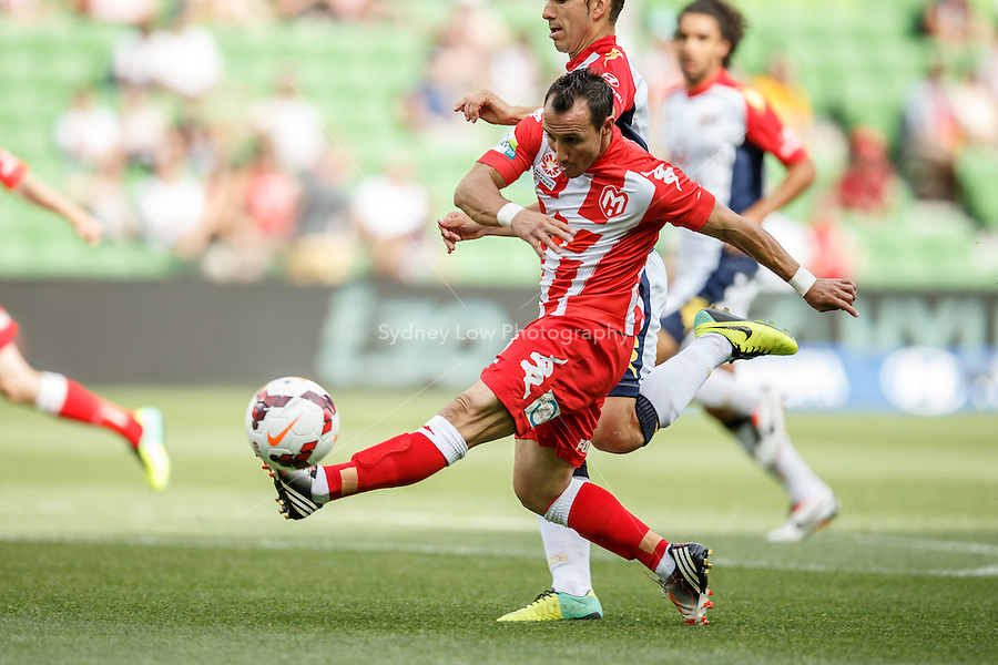 Michael MIFSUD of the Heart kicks for goal in the round eight match between Melbourne Heart and Adelaide United in the Australian Hyundai A-League 2013-24 season at AAMI Park, Melbourne, Australia. Photo Sydney Low/Zumapress<br /> <br /> This image is not for sale on this web site. Please visit zumapress.com for licensing