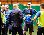 Lee Wallace listening intently to manager Mark Warburton