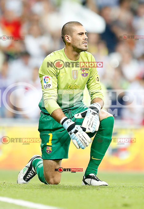 Barcelona's Victor Valdes dejected during Super Cup match. August 29, 2012. (ALTERPHOTOS/Alvaro Hernandez). NortePhoto.com