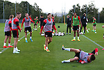 Stefan Scougall of Sheffield Utd falls over to the amusement of others during the Sheffield Utd training session at the Shirecliffe Training Complex , Sheffield. Picture date: September 29th, 2016. Pic Simon Bellis/Sportimage