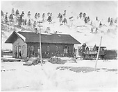 D&amp;RG Placer depot with #22, &quot;Alamosa&quot;, standing by.<br /> D&amp;RG  Placer (later Russell), CO