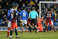 Blackburn Rovers' David Raya lands awkwardly <br /> <br /> Photographer Andrew Kearns/CameraSport<br /> <br /> The EFL Sky Bet League One - Portsmouth v Blackburn Rovers - Tuesday 13th February 2018 - Fratton Park - Portsmouth<br /> <br /> World Copyright &copy; 2018 CameraSport. All rights reserved. 43 Linden Ave. Countesthorpe. Leicester. England. LE8 5PG - Tel: +44 (0) 116 277 4147 - admin@camerasport.com - www.camerasport.com
