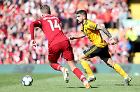 Wolverhampton Wanderers' Ruben Neves under pressure from Liverpool's Jordan Henderson<br /> <br /> Photographer Rich Linley/CameraSport<br /> <br /> The Premier League - Liverpool v Wolverhampton Wanderers - Sunday 12th May 2019 - Anfield - Liverpool<br /> <br /> World Copyright © 2019 CameraSport. All rights reserved. 43 Linden Ave. Countesthorpe. Leicester. England. LE8 5PG - Tel: +44 (0) 116 277 4147 - admin@camerasport.com - www.camerasport.com