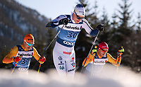 1st January 2020, Toblach, South Tyrol , Italy;  Janosch Brugger of Germany and Karl-Johan Westberg of Sweden competes in the mens 15 km classic technique pursuit during Tour de Ski on January 1, 2020 in Toblach.