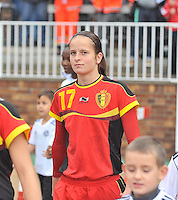 20131011 - SCHWEINFURT , GERMANY :  Belgian Charlotte Van Ishoven pictured during the female soccer match between Belgium Women U17 and The Netherlands U17 , in the first game of the Elite round in group6 in the UEFA European Women's Under 17 competition 2013 in the Willy Sachs Stadium - Schweinfurt. Friday 11 October 2013. PHOTO DAVID CATRY