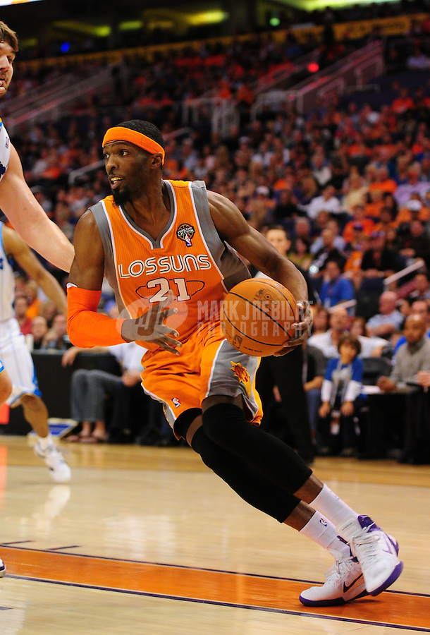 Mar. 25, 2011; Phoenix, AZ, USA; Phoenix Suns forward Hakim Warrick against the New Orleans Hornets at the US Airways Center. The Hornets defeated the Suns 106-100. Mandatory Credit: Mark J. Rebilas-.