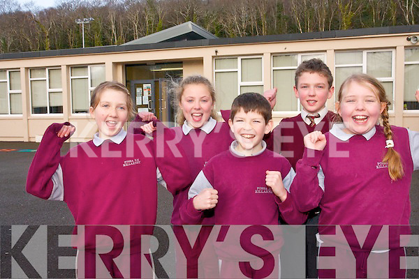 Fossa National School pupils are celebrating this week following the news that former pupil, Michael Fassbender, has been nominated for an oscar.<br /> Front L-R Brianne Griffin Coffey, Harry Buckley and Scarlet O'Reilly. <br /> Back L-R Aoife Kissane and David Mee.