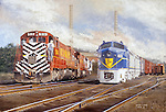 "Lehigh Valley Railroad diesel locomotives beside a freight train pulled by two Delaware and Hudson Sharks at Sayre, PA, circa 1960. Oil on canvas, 18' x 26""."