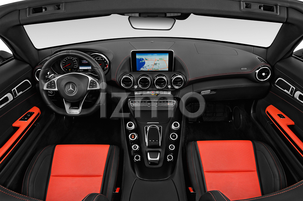 Stock photo of straight dashboard view of a 2019 Mercedes Benz AMG GT base 2 Door Roadster