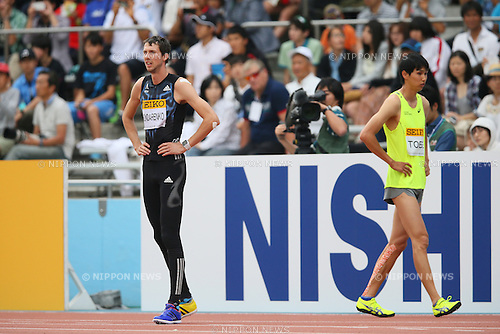 (L to R) Bohdan Bondarenko (UKR), Naoto Tobe, MAY 10, 2015 - Athletics : IAAF World Challenge Seiko Golden Grand Prix in Kawasaki, Men's High Jump at Todoroki Stadium, Kanagawa, Japan. (Photo by YUTAKA/AFLO SPORT)