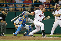 South Carolina's Brady Thomas pinch hits in Game Two of the NCAA Division One Men's College World Series Finals on June 29th, 2010 at Johnny Rosenblatt Stadium in Omaha, Nebraska.  (Photo by Andrew Woolley / Four Seam Images)