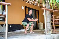 Namotu Island, Fiji (Sunday, May 31, 2015) Adriano de Souza (BRA)  warming up for a surf session. -  Photo: joliphotos.com