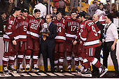 Tyler Moy (Harvard - 2), Clay Anderson (Harvard - 5), Devin Tringale (Harvard - 22), Steve Nazro, Alexander Kerfoot (Harvard - 14), Sean Malone (Harvard - 17), Phil Zielonka (Harvard - 72), Luke Esposito (Harvard - 9), Ted Donato (Harvard - Head Coach), Victor Newell (Harvard - 8) - The Harvard University Crimson defeated the Boston University Terriers 6-3 (EN) to win the 2017 Beanpot on Monday, February 13, 2017, at TD Garden in Boston, Massachusetts.
