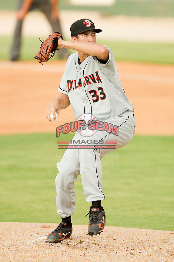Starting pitcher David Baker #33 of the Delmarva Shorebirds in action against the Kannapolis Intimidators at Fieldcrest Cannon Stadium on August 6, 2011 in Kannapolis, North Carolina.  The Intimidators defeated the Shorebirds 14-6.   (Brian Westerholt / Four Seam Images)