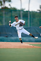 GCL Pirates third baseman Andres Alvarez (68) throws to first base during a Gulf Coast League game against the GCL Braves on July 30, 2019 at Pirate City in Bradenton, Florida.  GCL Braves defeated the GCL Pirates 10-4.  (Mike Janes/Four Seam Images)
