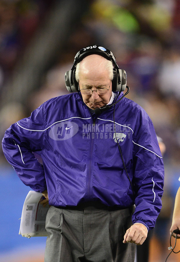 Jan. 3, 2013; Glendale, AZ, USA: Kansas State Wildcats head coach Bill Snyder reacts on the sidelines in the second half against the Oregon Ducks during the 2013 Fiesta Bowl at University of Phoenix Stadium. Oregon defeated Kansas State 35-17. Mandatory Credit: Mark J. Rebilas-