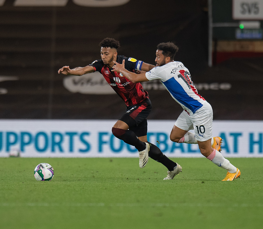Crystal Palace's Andros Townsend (right) vies for possession with Bournemouth's Lloyd Kelly (left) <br /> <br /> Photographer David Horton/CameraSport<br /> <br /> Carabao Cup Second Round Southern Section - Bournemouth v Crystal Palace - Tuesday 15th September 2020 - Vitality Stadium - Bournemouth<br />  <br /> World Copyright © 2020 CameraSport. All rights reserved. 43 Linden Ave. Countesthorpe. Leicester. England. LE8 5PG - Tel: +44 (0) 116 277 4147 - admin@camerasport.com - www.camerasport.com