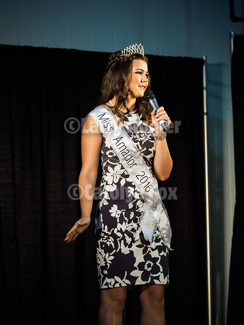 Miss Amador 2016, Sydney Julien during the Miss Amador Scholarship Pageant at the 79th Amador County Fair, Plymouth, Calif.<br /> <br /> <br /> #AmadorCountyFair, #PlymouthCalifornia,<br /> #TourAmador, #VisitAmador,